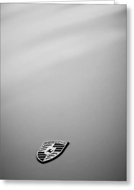 Sports Photo Print Greeting Cards - Porsche Emblem -0762bw Greeting Card by Jill Reger