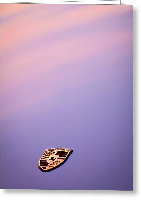 Sports Photo Print Greeting Cards - Porsche Emblem -0762c Greeting Card by Jill Reger