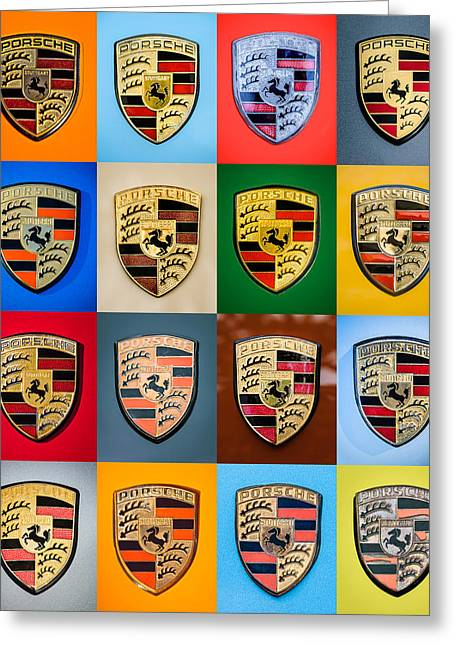 Sports Montage Greeting Cards - Porsche Emblem Art 3 Greeting Card by Jill Reger