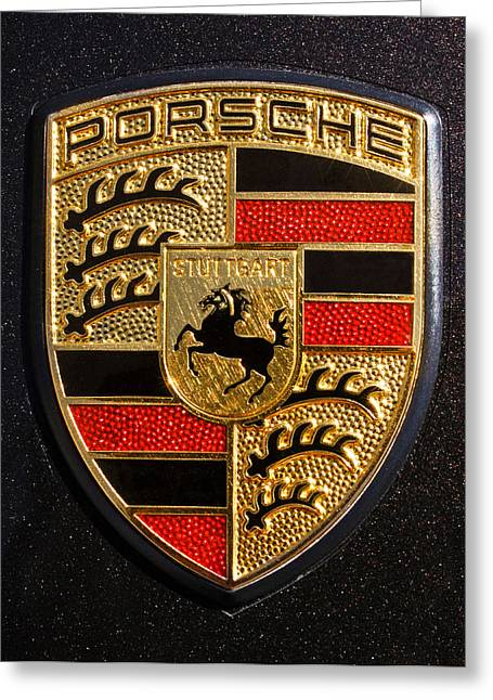 Black Greeting Cards - Porsche Emblem -211C Greeting Card by Jill Reger