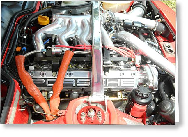 Smooth Ride Greeting Cards - Porsche Engine Compartment Greeting Card by George Pedro