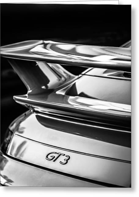 Sports Photo Print Greeting Cards - Porsche GT 3 Emblem -1577bw Greeting Card by Jill Reger