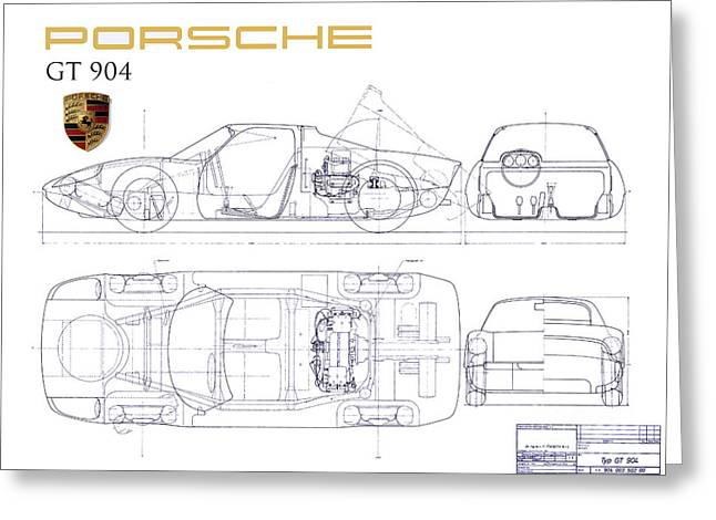 550 Greeting Cards - Porsche GT 904 blueprint Greeting Card by Jon Neidert