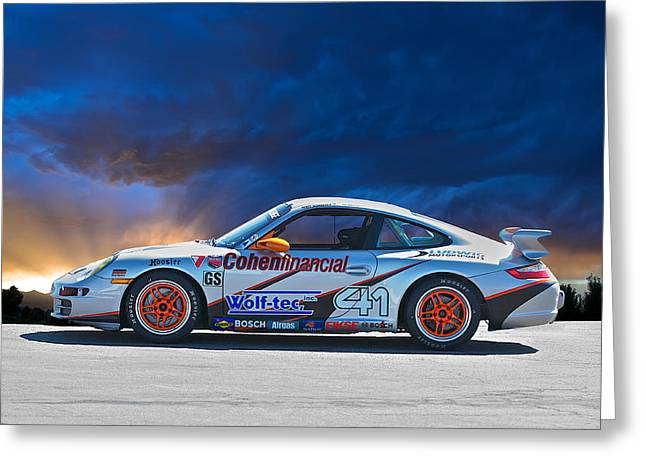 Rally Greeting Cards - Porsche GT in Profile Greeting Card by Dave Koontz