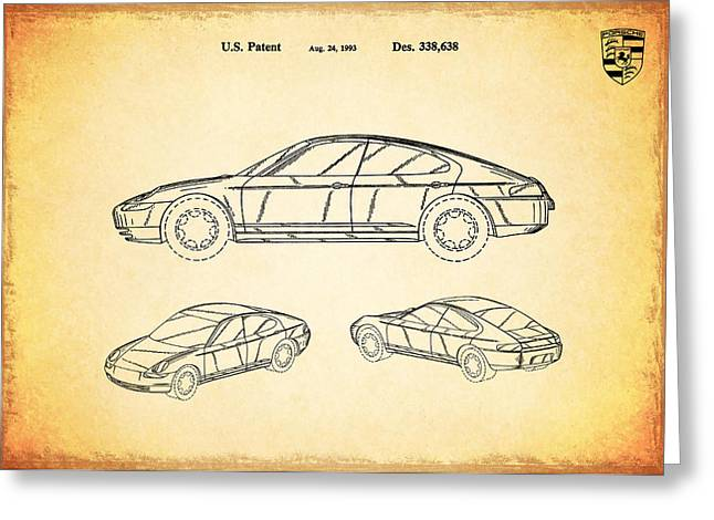 Classic Car Greeting Cards - Porsche Patent 1993 Greeting Card by Mark Rogan
