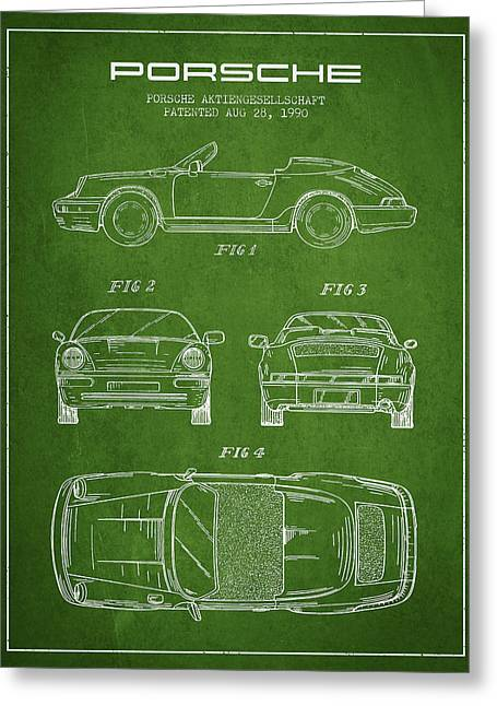 Cayenne Greeting Cards - Porsche Patent from 1990 - Green Greeting Card by Aged Pixel