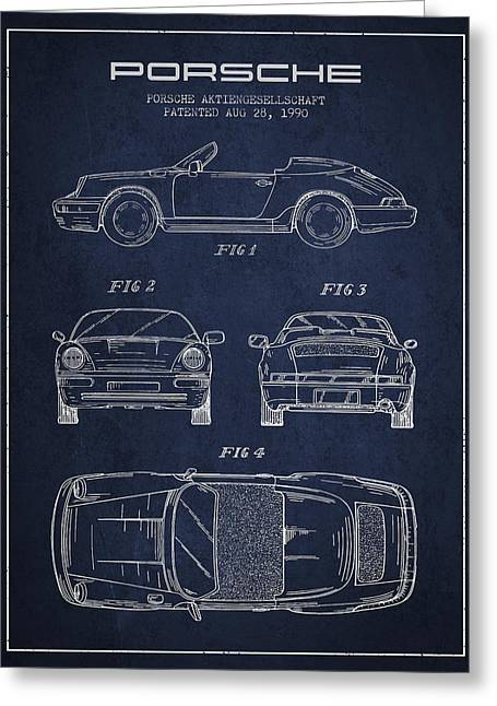 Cayenne Greeting Cards - Porsche Patent from 1990 - Navy Blue Greeting Card by Aged Pixel
