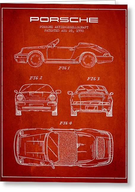 Cayenne Greeting Cards - Porsche Patent from 1990 - Red Greeting Card by Aged Pixel