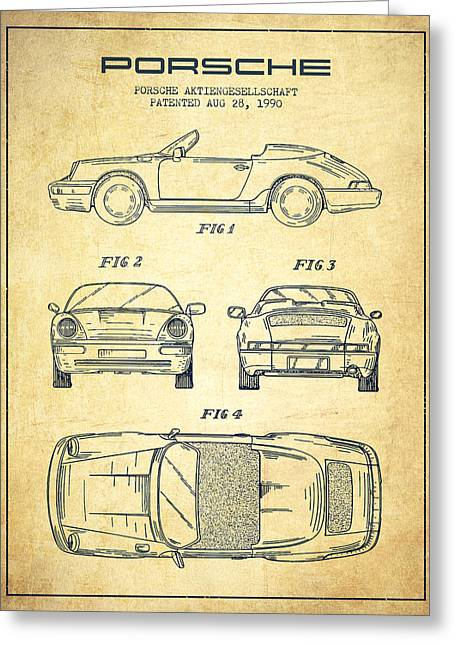 Cayenne Greeting Cards - Porsche Patent from 1990 - Vintage Greeting Card by Aged Pixel