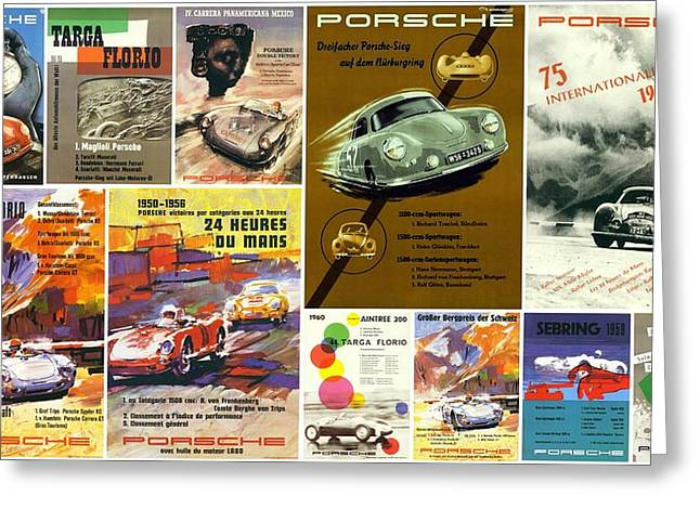 Old Posters Greeting Cards - Porsche Racing Posters Collage Greeting Card by Don Struke
