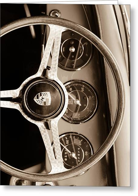 Custom Photographs Greeting Cards - Porsche Sepia Iphone 3 Greeting Card by Jill Reger