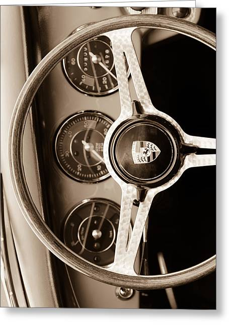 Custom Photographs Greeting Cards - Porsche Sepia Iphone 4 Greeting Card by Jill Reger