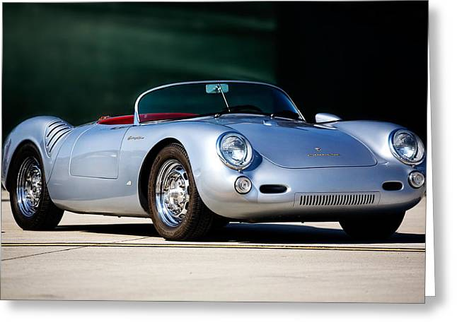 550 Greeting Cards - Porsche Spyder 550 Greeting Card by Peter Tellone