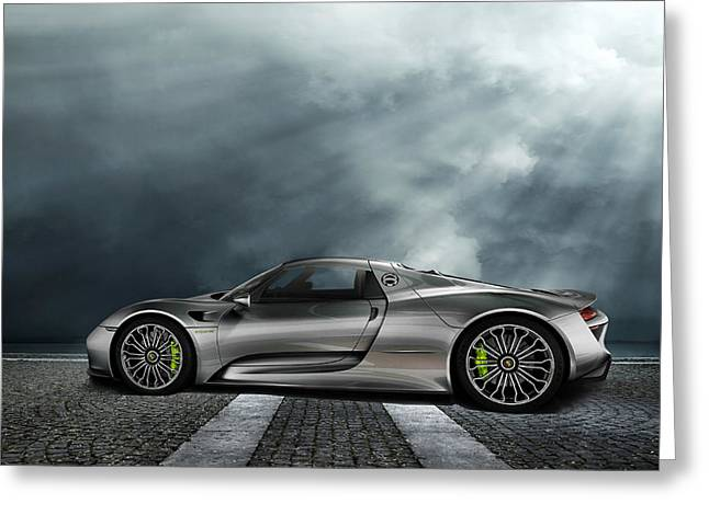 Engine Digital Greeting Cards - Porsche Spyder V2 Greeting Card by Peter Chilelli