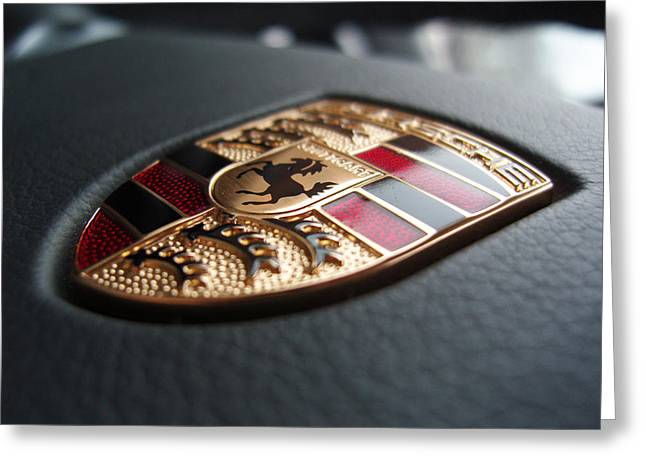 Recently Sold -  - Collector Hood Ornament Greeting Cards - Porsche Steering Wheel Badge Emblem Greeting Card by Nomad Art And  Design