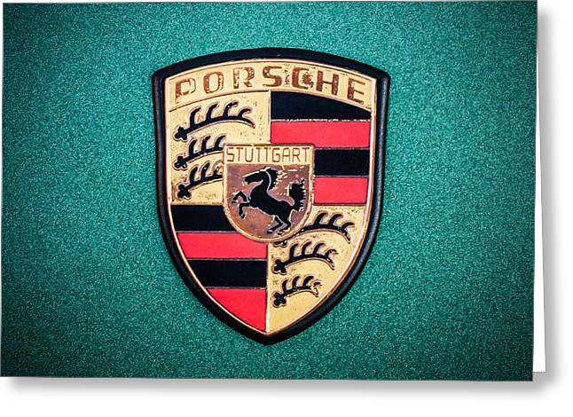 Famous Photographers Greeting Cards - Porsche Targa 911S Emblem -0107c55 Greeting Card by Jill Reger