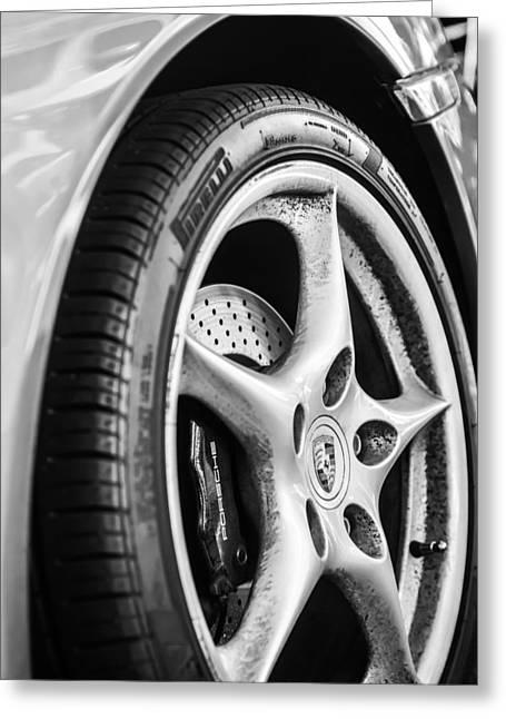 Sports Photo Print Greeting Cards - Porsche Wheel Emblem -0006bw Greeting Card by Jill Reger