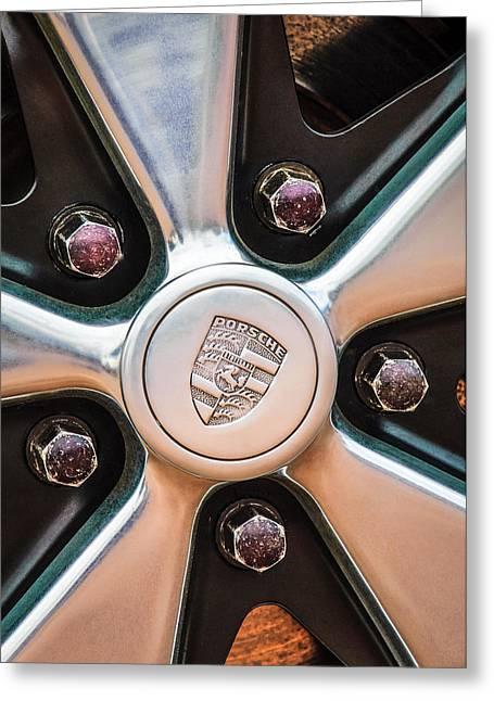 Sports Photo Print Greeting Cards - Porsche Wheel Emblem -0660c Greeting Card by Jill Reger