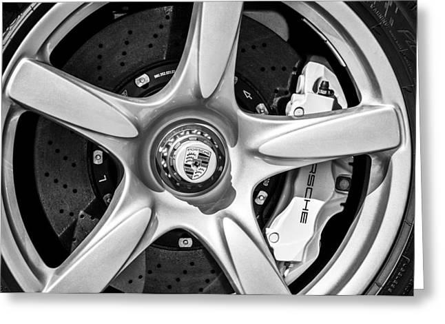 Sports Photo Print Greeting Cards - Porsche Wheel Emblem -0997bw Greeting Card by Jill Reger