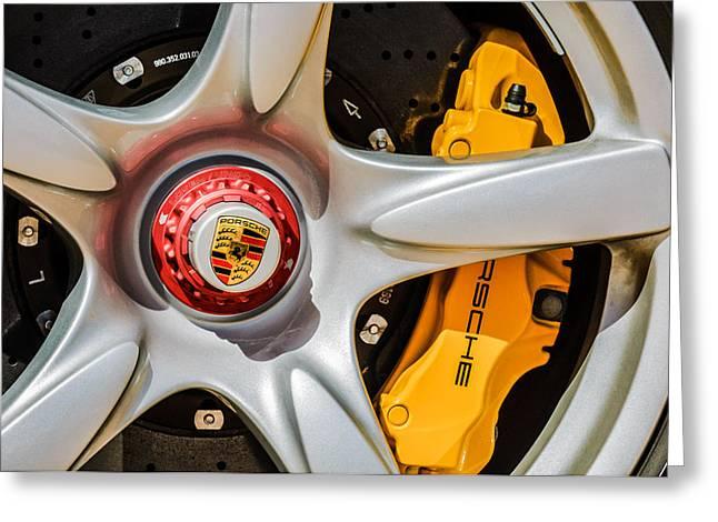 Sports Photo Print Greeting Cards - Porsche Wheel Emblem -0999c Greeting Card by Jill Reger