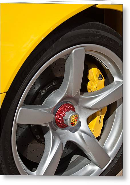 Famous Photographers Greeting Cards - Porsche Wheel Emblem -1002c Greeting Card by Jill Reger