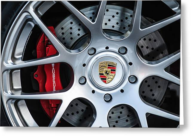 Recently Sold -  - Famous Photographer Greeting Cards - Porsche Wheel Emblem -1323c Greeting Card by Jill Reger