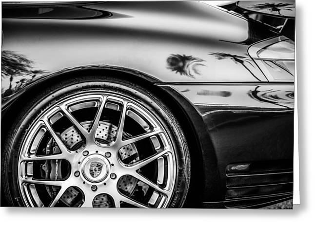 Sports Photo Print Greeting Cards - Porsche Wheel Emblem -1329bw Greeting Card by Jill Reger