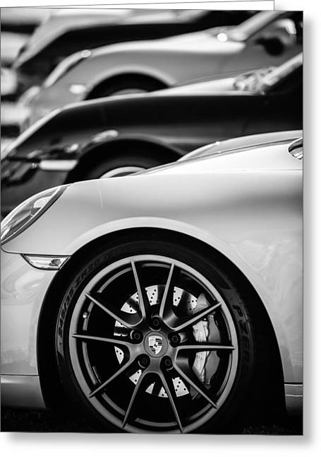 Sports Photo Print Greeting Cards - Porsche Wheel Emblem -2074bw Greeting Card by Jill Reger