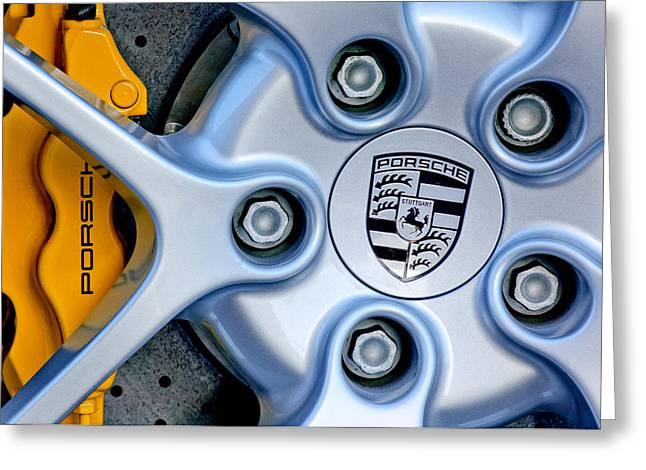 Wheels Greeting Cards - Porsche Wheel Emblem Greeting Card by Jill Reger