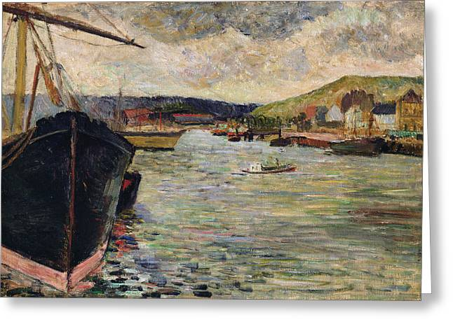 Docked Boats Greeting Cards - Port At Rouen Oil On Canvas Greeting Card by Paul Gauguin