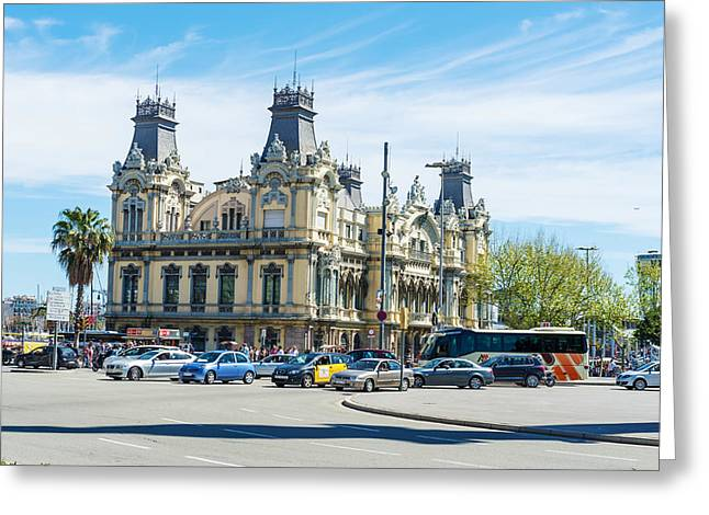 Buildings In The Harbor Greeting Cards - Port Authority  Building in  Barcelona  Spain Greeting Card by Marek Poplawski