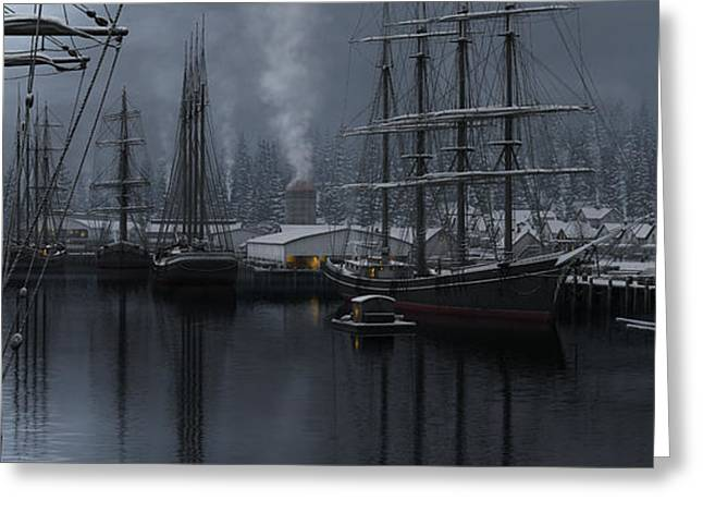 Schooner Greeting Cards - Winters Warmth Greeting Card by Ron Crabb