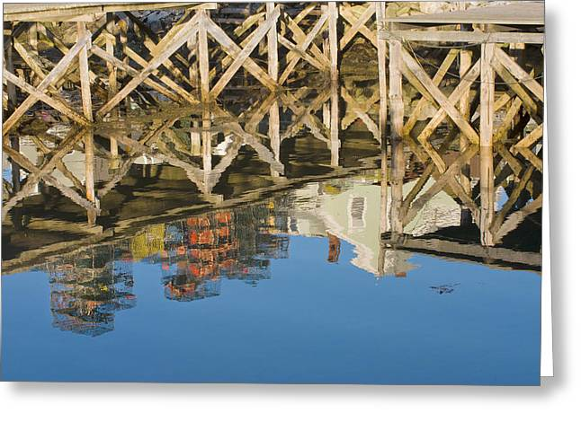 Maine Landscape Greeting Cards - Port Clyde Maine Lobster Traps Reflecting in Water Greeting Card by Keith Webber Jr