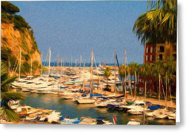 Sailing Greeting Cards - Port de Fontvieille Greeting Card by Jeff Kolker