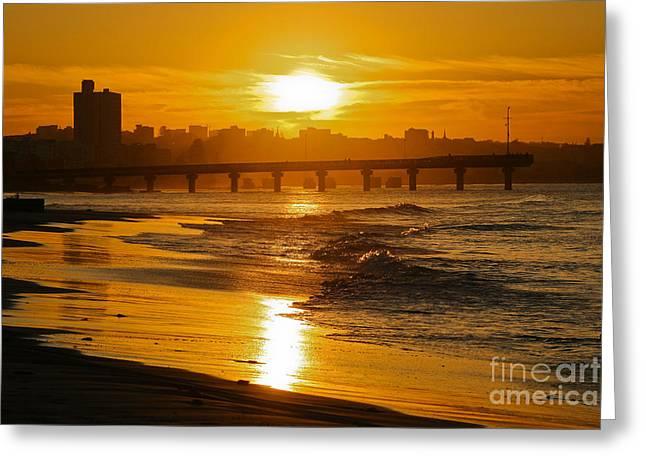 Port Elizabeth Greeting Cards - Port Elizabeth Sunset Greeting Card by Jennifer Ludlum