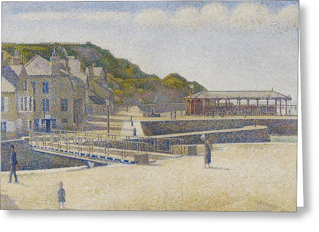 Besides Greeting Cards - Port en Bessin Greeting Card by Georges Pierre Seurat