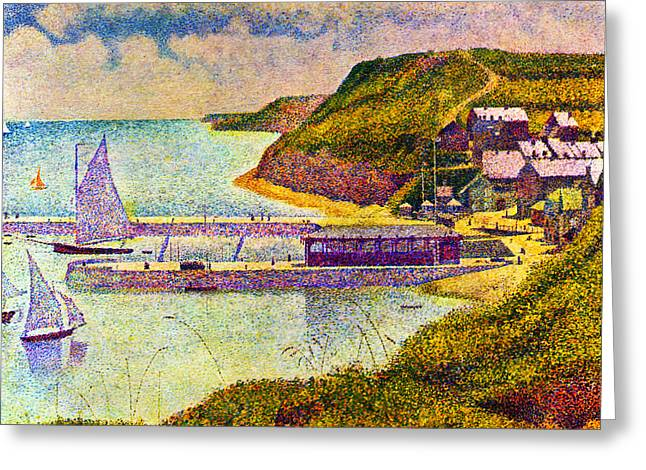 Seurat Greeting Cards - Port en Bessin Greeting Card by Georges Seurat