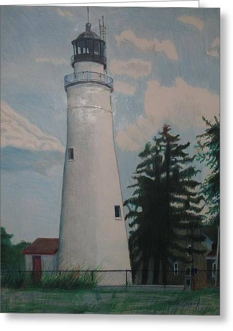 Seacape Drawings Greeting Cards - Port Gratiot Lighthouse Greeting Card by Matthew Handy