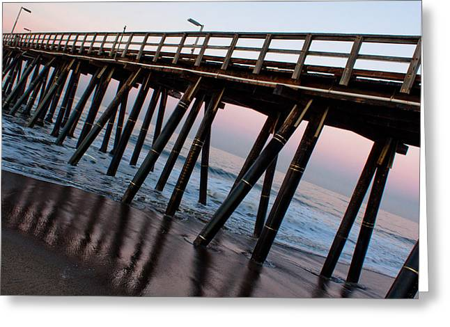 Exciting Surf Greeting Cards - Port Hueneme Pier Askew Greeting Card by John Daly