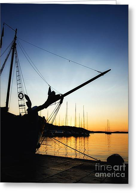 Ocean Panorama Greeting Cards - Port in the sunset Greeting Card by Sinisa Botas