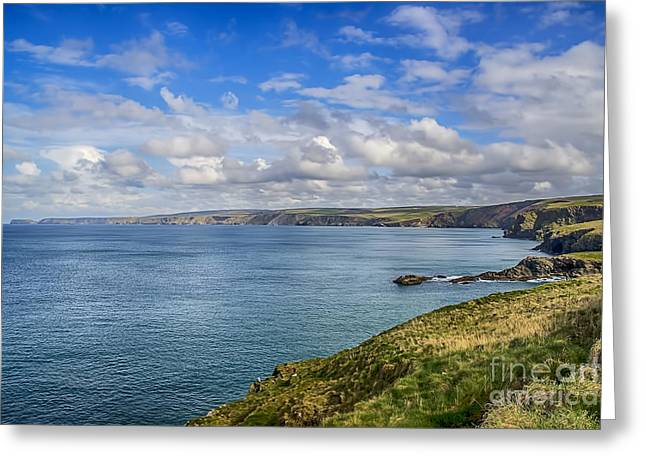 Tintagel Greeting Cards - Port Isaac to Tintagel View Greeting Card by Chris Thaxter