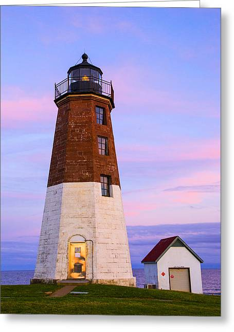 Lighthouse At Sunset Greeting Cards - Port Judith At Sunset Greeting Card by Karol  Livote