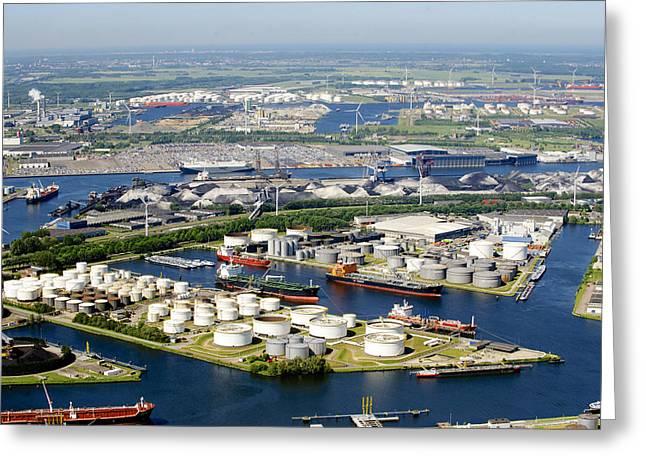 Port Of Amsterdam, Amsterdam Greeting Card by Bram van de Biezen