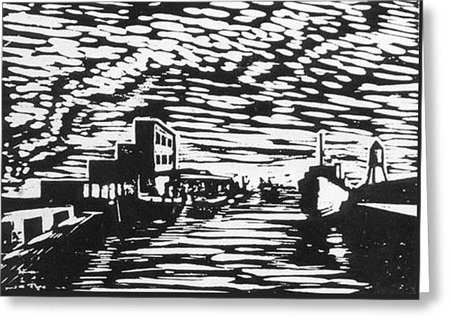 Ink Drawing Reliefs Greeting Cards - Port of Houston Greeting Card by Fred Jinkins