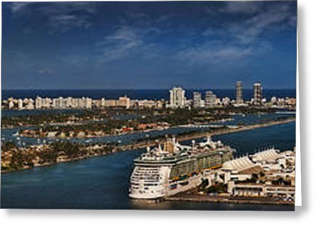 Panoramics Greeting Cards - Port Of Miami Panoramic Greeting Card by Susan Candelario