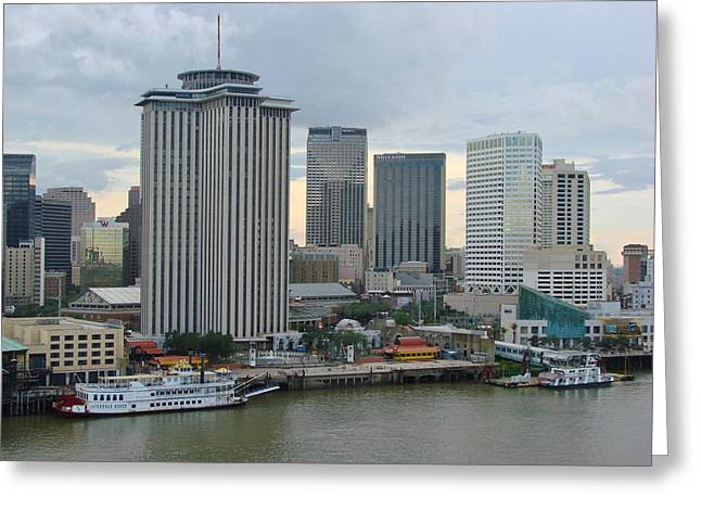 M Bobb Greeting Cards - Port of New Orleans on a Rainy Day Greeting Card by Margaret Bobb