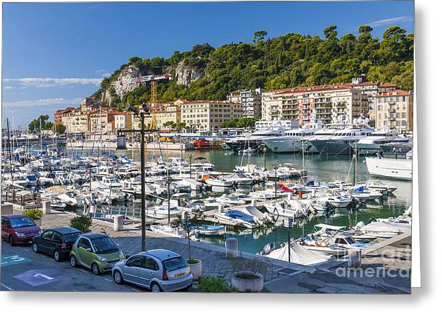 Docked Sailboat Greeting Cards - Port of Nice in France Greeting Card by Elena Elisseeva