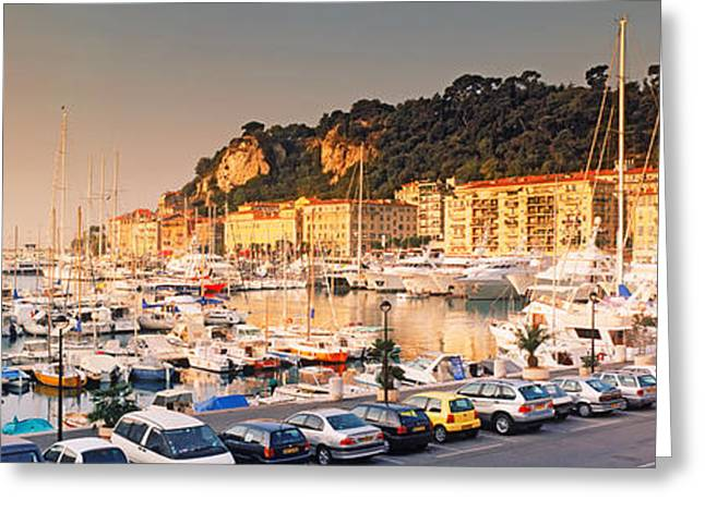 Nice House Greeting Cards - Port Of Nice Lined By Old Houses Greeting Card by Panoramic Images