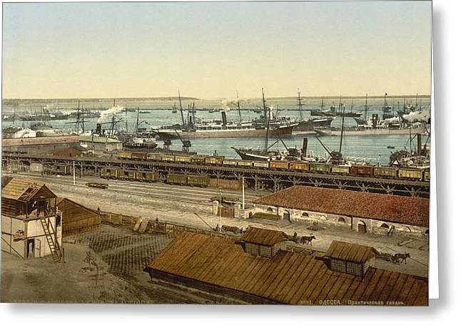 Ukrainian Prints Greeting Cards - Port of Odessa, 1890s Greeting Card by Science Photo Library