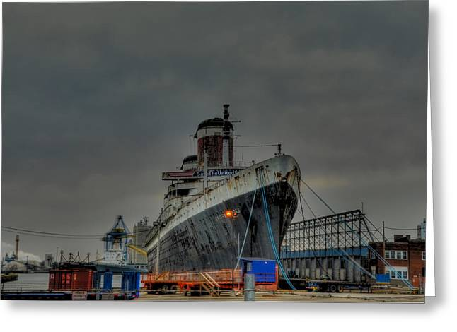 South Philadelphia Digital Greeting Cards - Port of Philadelphia - SS United States Greeting Card by Bill Cannon